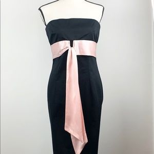 Ruth Black strapless cocktail dress with pink sash
